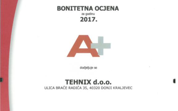 Kompaniji Tehnix dodijeljena bonitetna ocjena A+