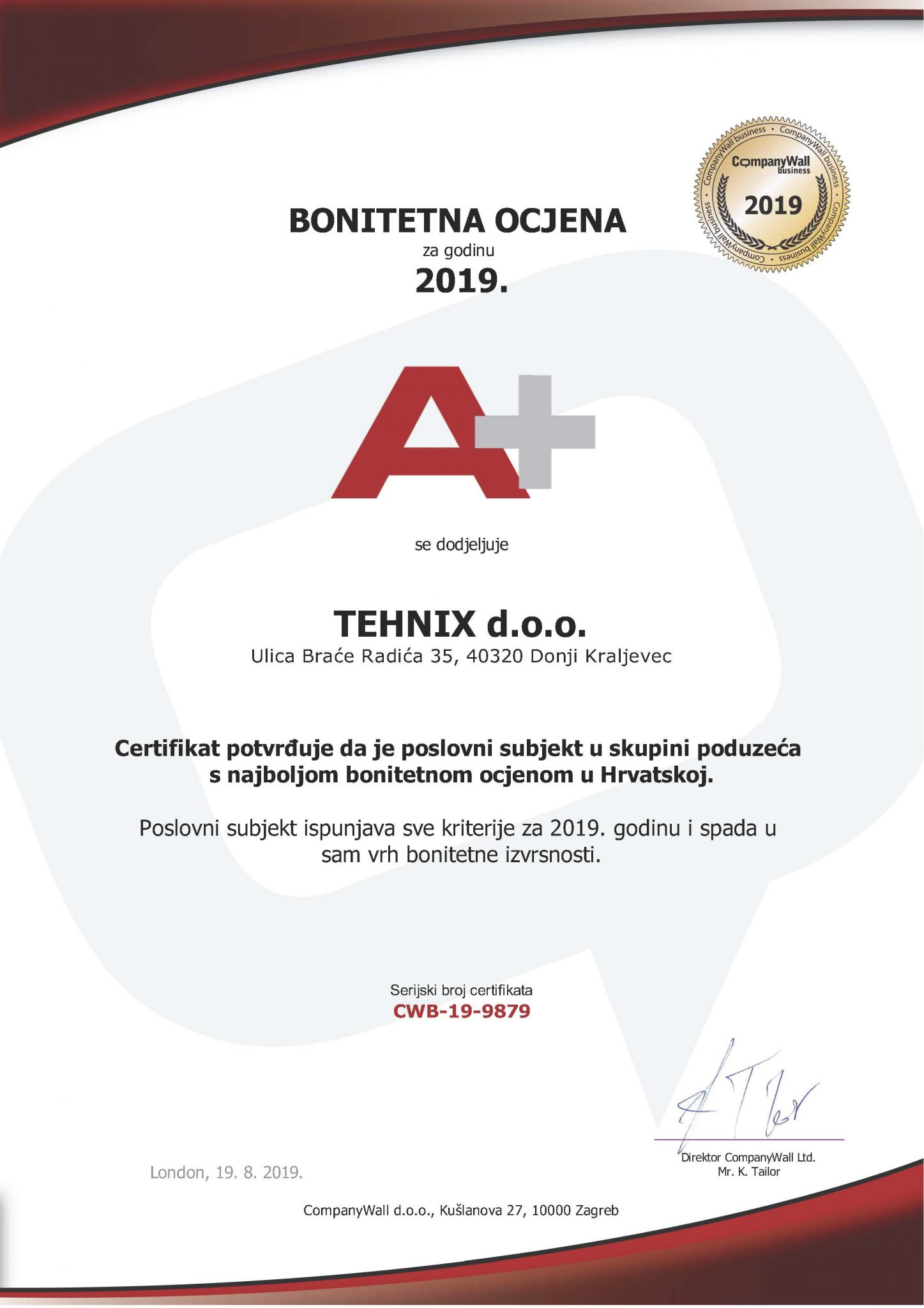 The company Tehnix was awarded A+ rating for 2019